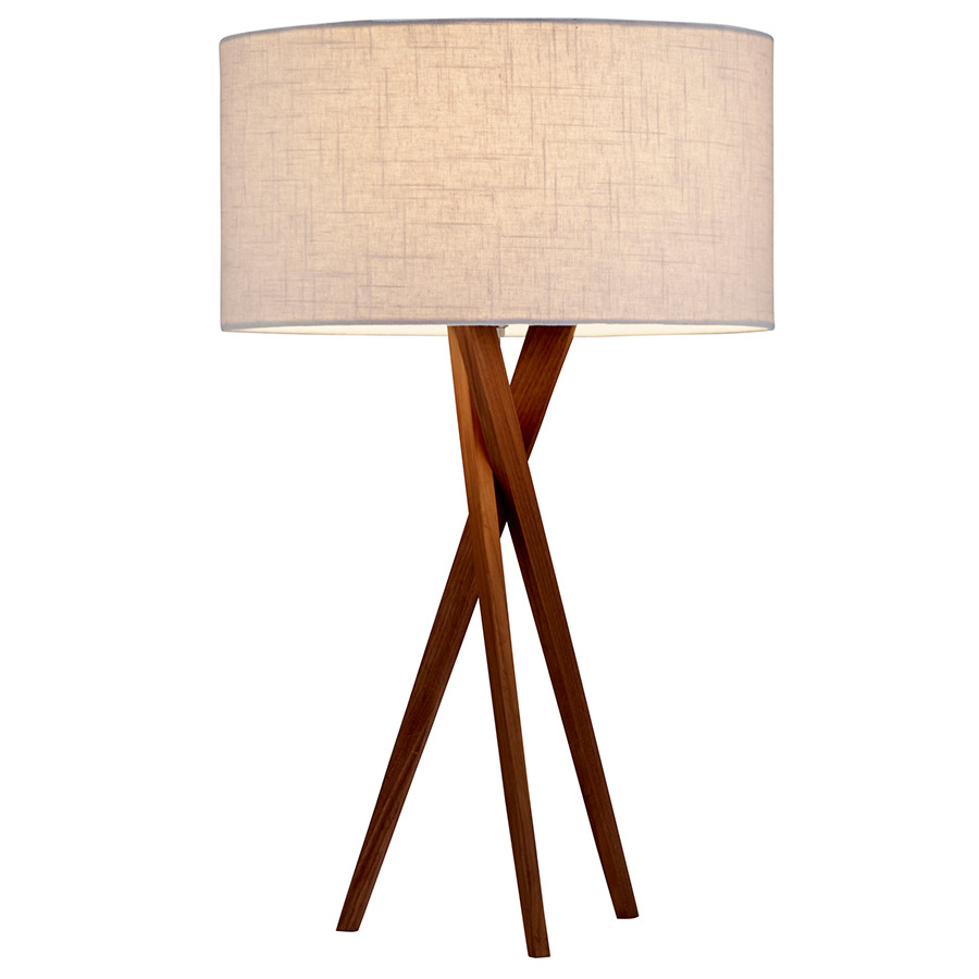 chic Brownlyn Table Lamp by eurway furniture with Walnut wood body and White textured linen shade for home furniture ideas