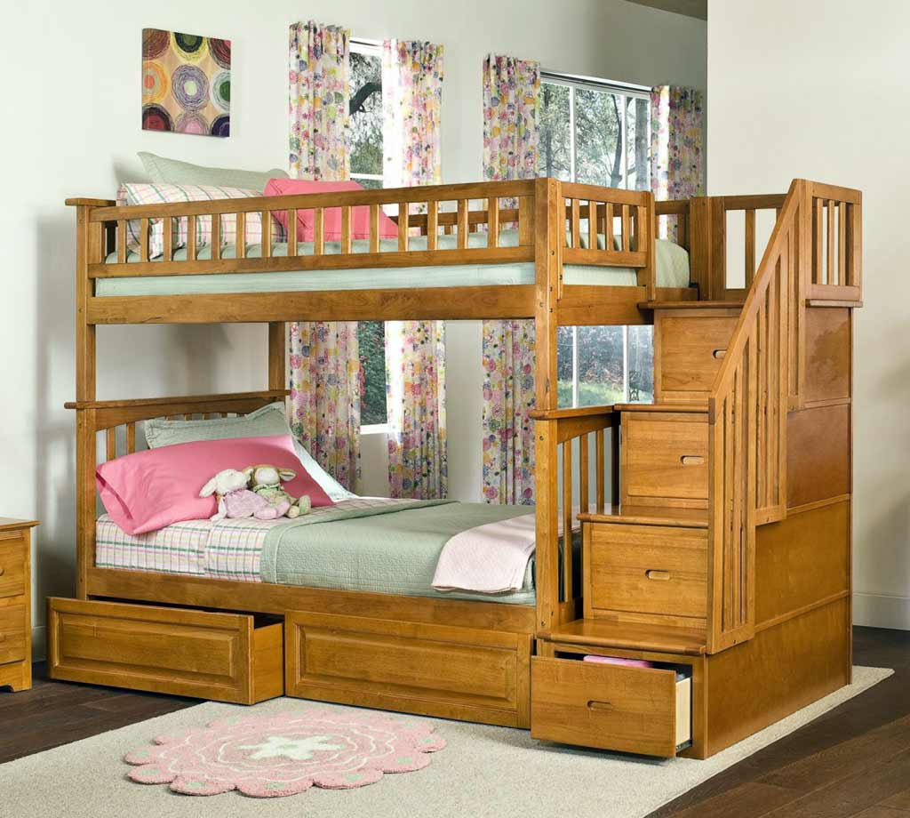 chic Bunk Beds With Stairs and drawers on wooden floor with white rug matched with white wall with floral curtains for teen bedroom decor ideas