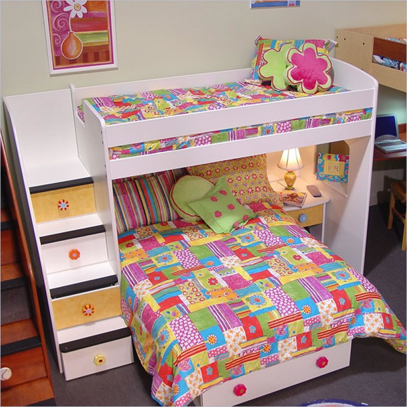 Chic Bunk Beds With Stairs In White With Colorful Bedding And Sleep Lamp For Kids Bedroom Decor Ideas