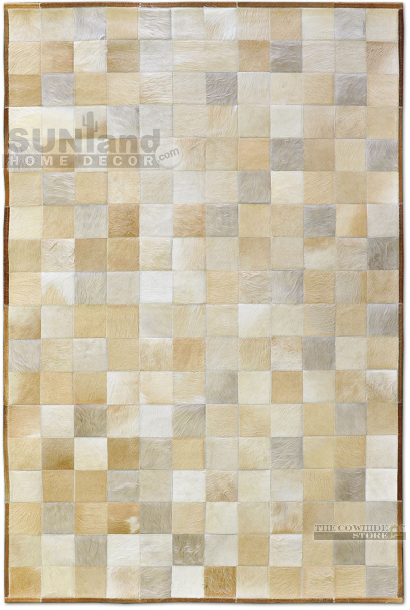 chic cowhide patchwork rug in creamy white with checked motif for floor decor ideas