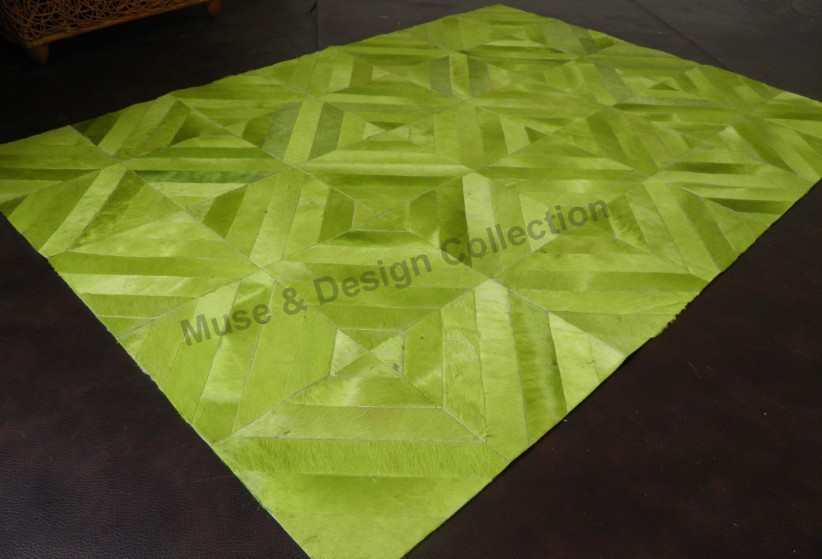 chic cowhide patchwork rug in green with striped motif for floor decor ideas