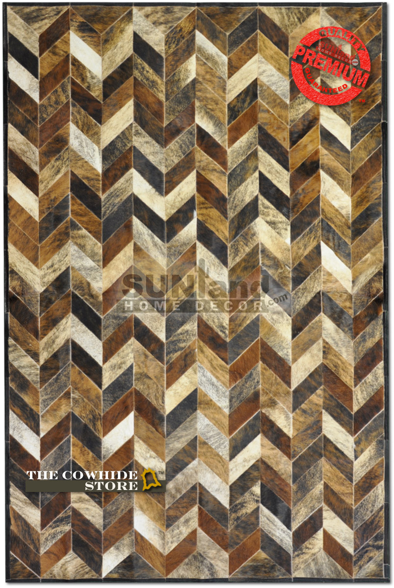 chic cowhide patchwork rug in mixed brindle with zigzag motif for floor decor ideas