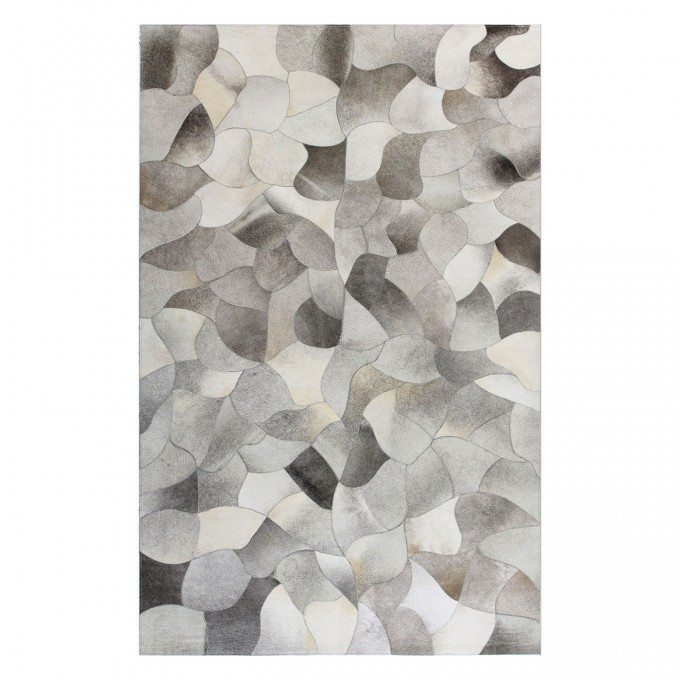 Chic Cowhide Patchwork Rug In Mixed Grey Brindle With Conch Motif For Floor Decor Ideas