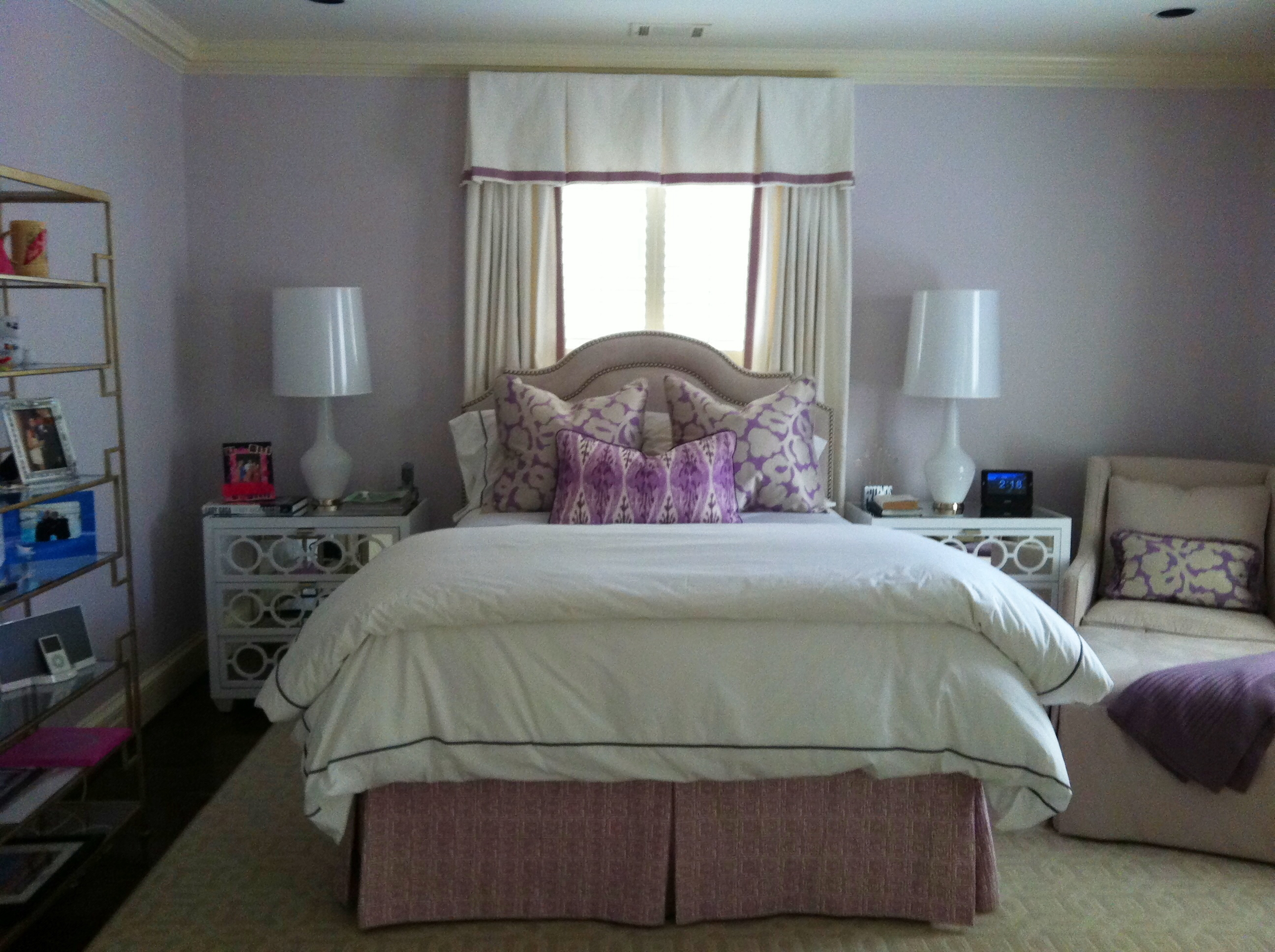Chic Cowtan And Tout Curtain In White Matched With Lavender Wall Plus Nightstand And Bed For Bedroom Decor Ideas