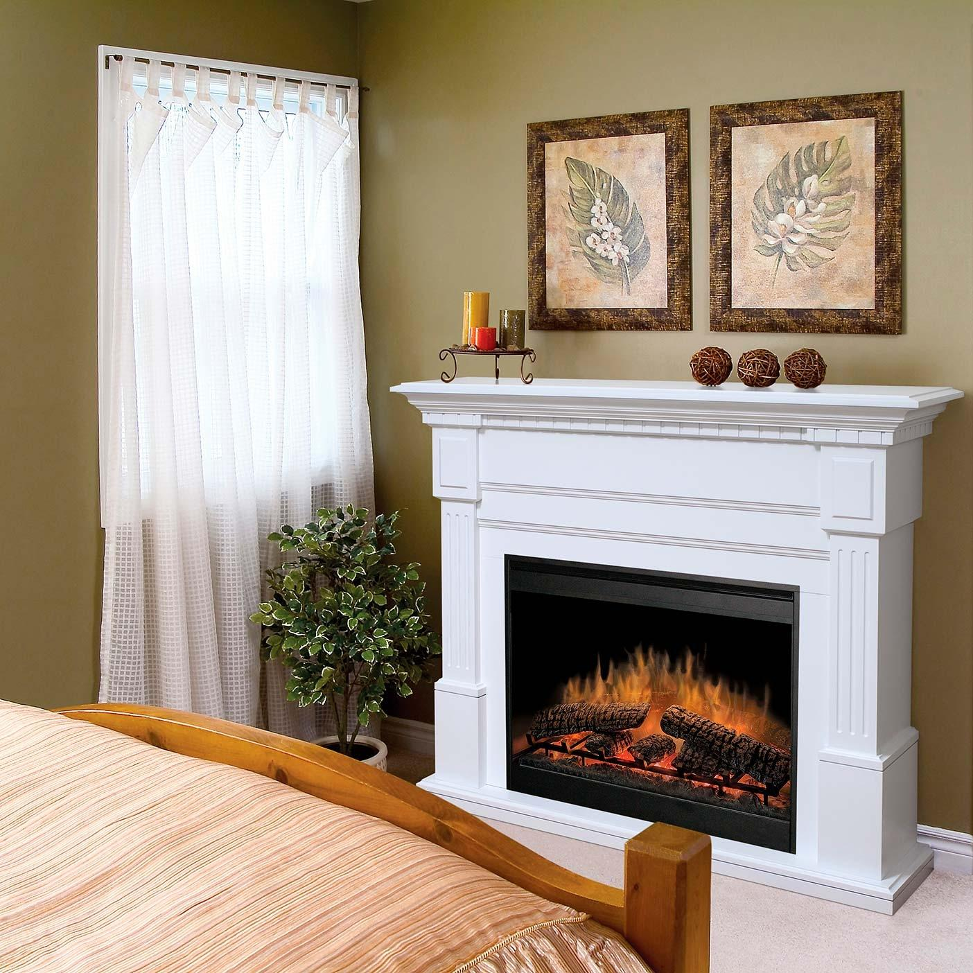 chic dimplex electric fireplaces with white mantel kit before the dark olive wall plus window with white curtain for family room ideas