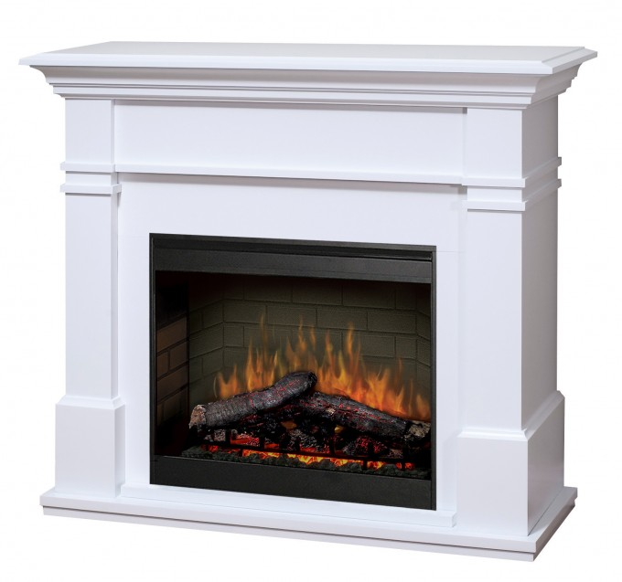 Chic Dimplex Electric Fireplaces With White Mantel Kit For Heatwarming Ideas