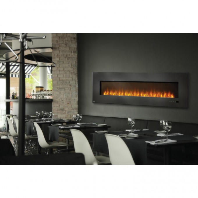 Chic Electric Napoleon Fireplace On Gray Wall With Dining Table Set For Living Room Ideas