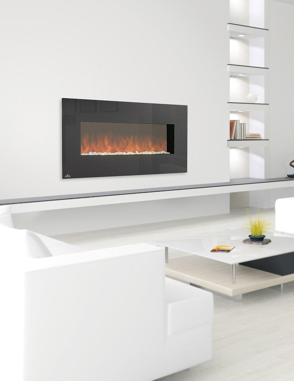 chic electric napoleon fireplace on white wall with book shelves plus white sofa set on white tile floor for family room decor ideas