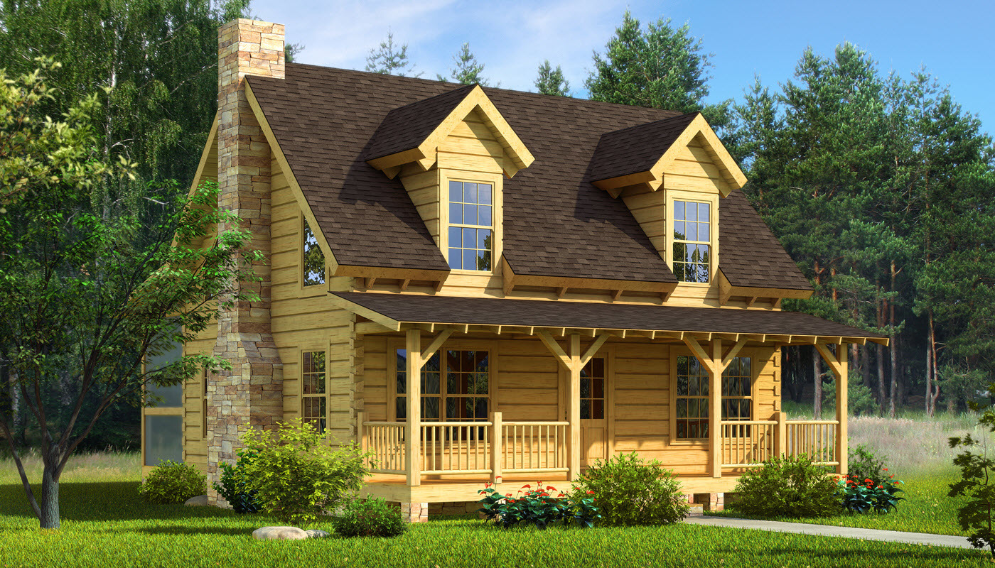 chic exterior design of Southland Log Homes with brown roof and single hung windows plus railing and wooden door ideas