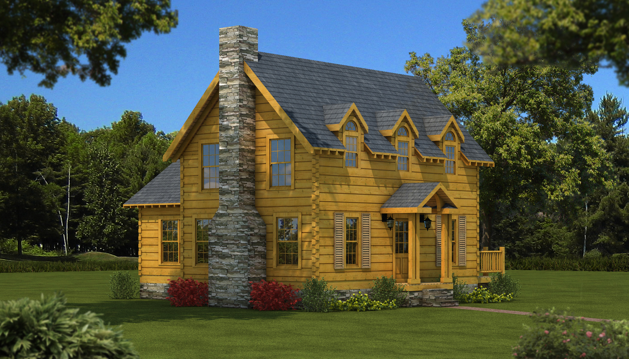 chic exterior design of Southland Log Homes with dark roof and natural stone chimney plus single hung windows ideas