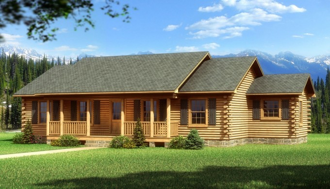 Chic Exterior Design Of Southland Log Homes With Dark Roof And Single Hung Windows Plus Railing Ideas