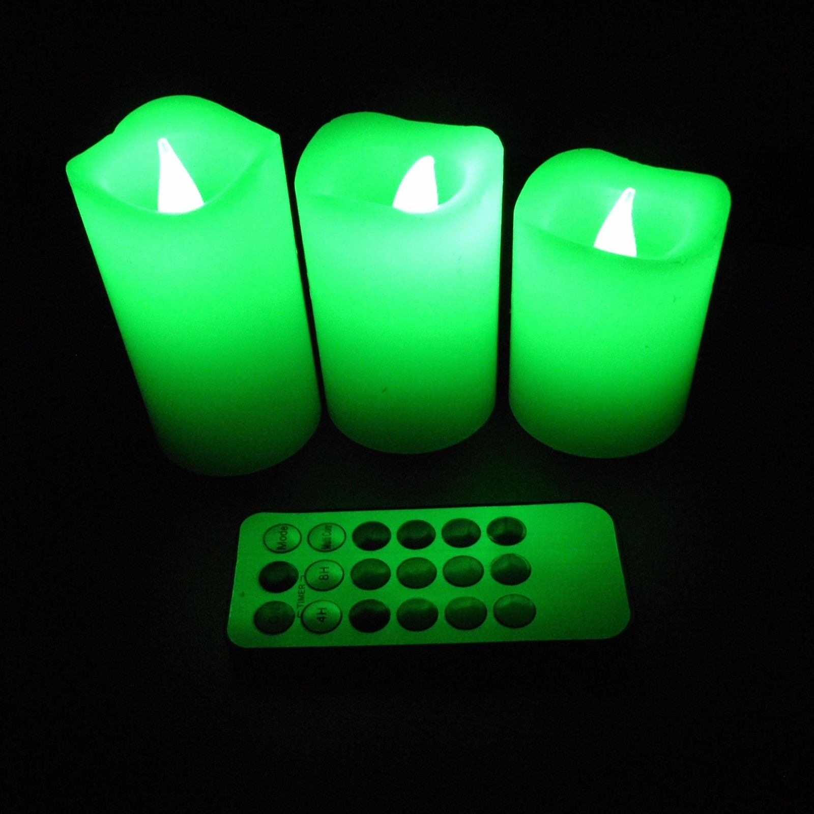 chic flameless candles with timer changing to green for home decoration ideas