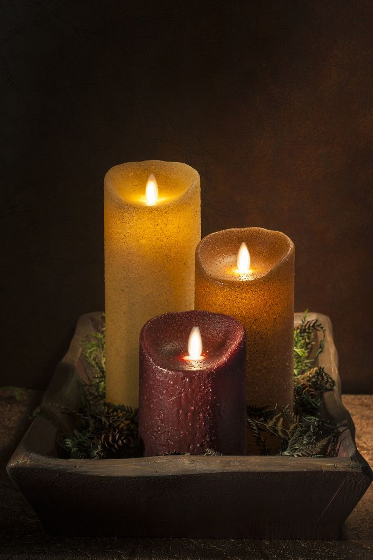 chic flameless candles with timer set in three on brown plate for home decoration ideas