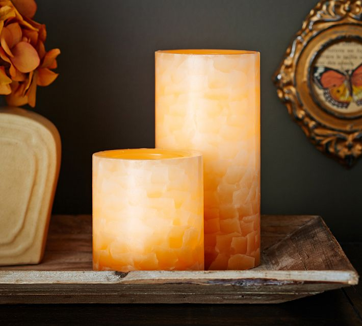 chic flameless candles with timer set in two on wooden plate for home decoration ideas