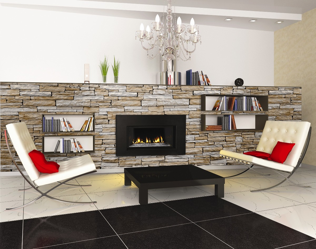 chic gas napoleon fireplace on stone veneer panel wall with bookrack plus sofa set on tile floor for family room decor ideas
