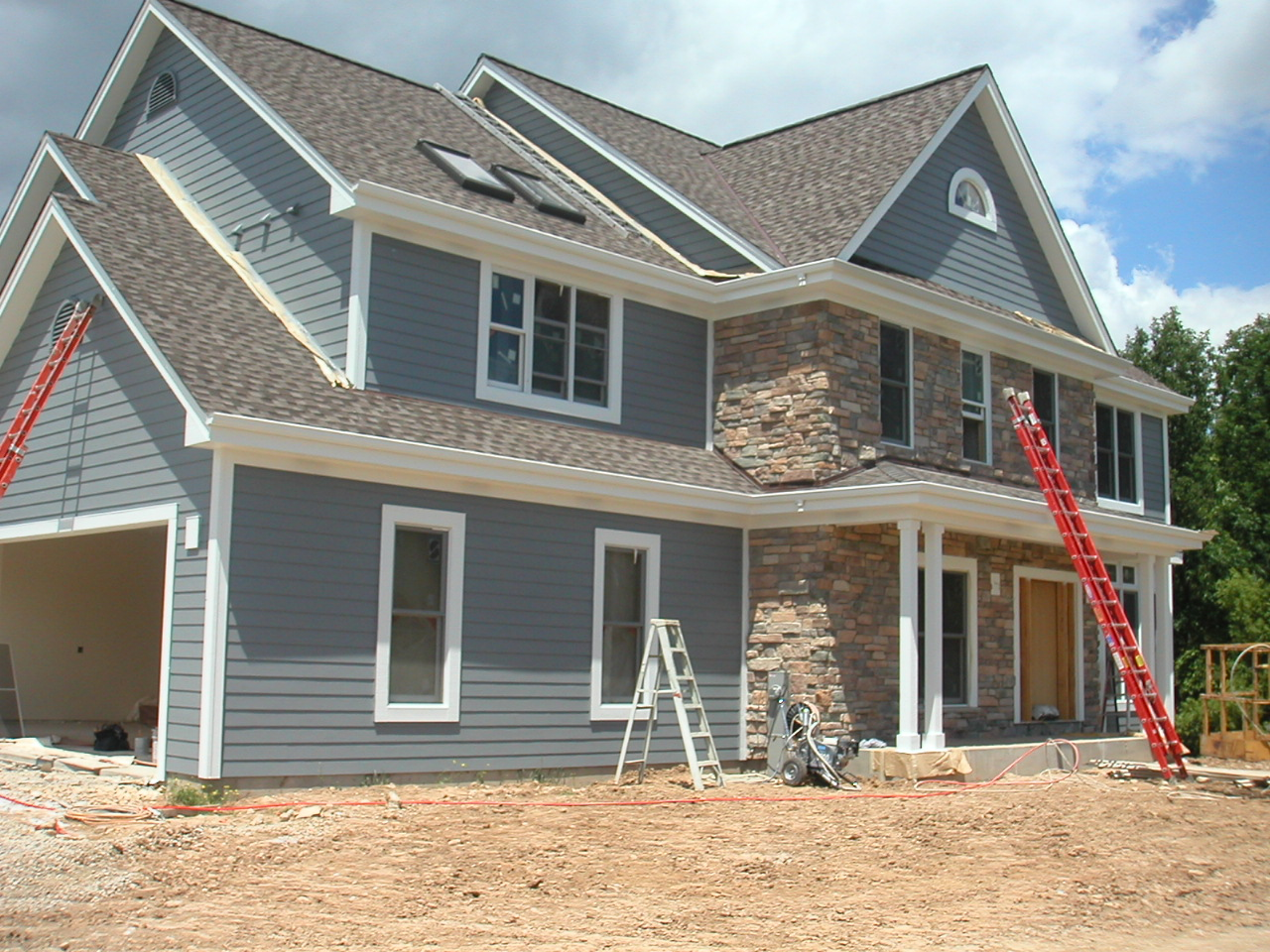 chic hardie plank siding in gray matched with white trim board and single hung window for home exterior design ideas