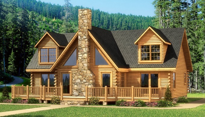 Chic Home Exterior Design Of Southland Log Homes With Black Roof And Natural Stone Chimney Ideas