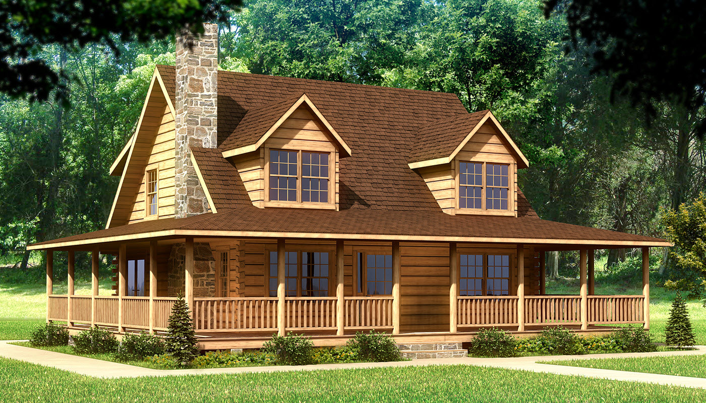 chic home exterior design of Southland Log Homes with brown roof and single hung window plus natural stone chimney ideas