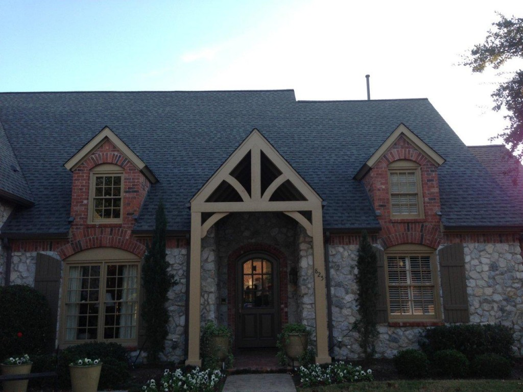 Chic Home Exterior Design Using Dark Gaf Timberline Hd Matched With Natural Stone Siding And Single Hung Windows Ideas