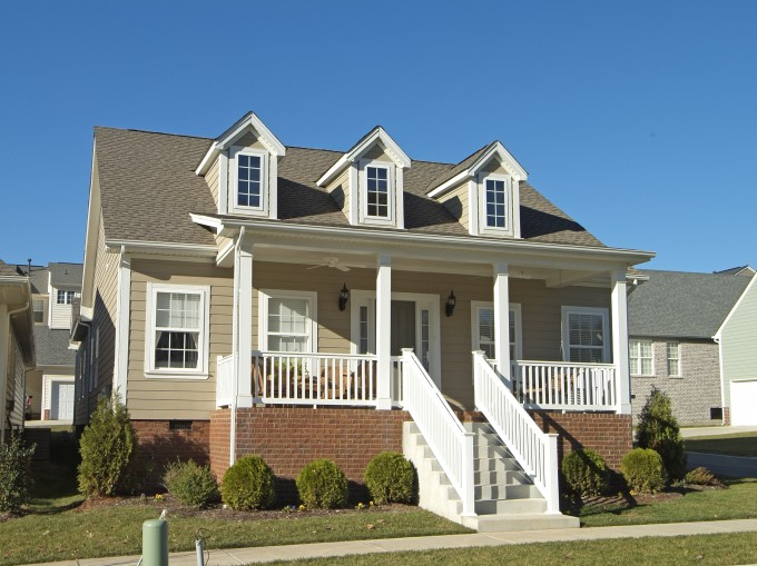 Chic Horizontal Hardie Plank Siding In Beige With White Door And Window Plus White Wooden Railing For Home Exterior Design Ideas