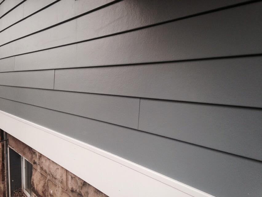 chic horizontal hardie plank siding in gray for home exterior design ideas