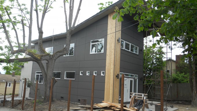 Chic Horizontal Hardie Plank Siding In Gray With Glass Window For Home Exterior Design Ideas