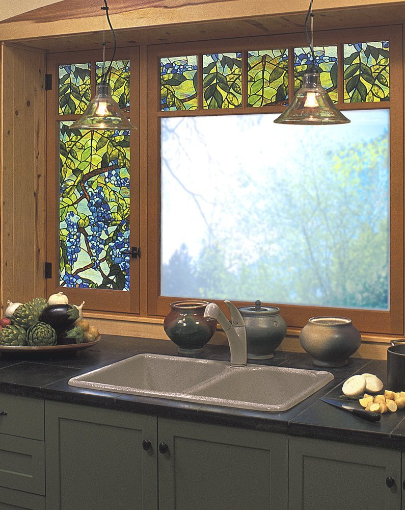 chic kitchen cabinet with black countertop and sink plus faucet before the window with artscape window film for kitchen decor ideas
