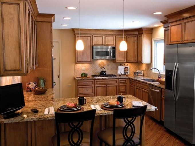 Chic Kitchen Design With Bertch Cabinets And Fridge Plus Bar Stool Ideas
