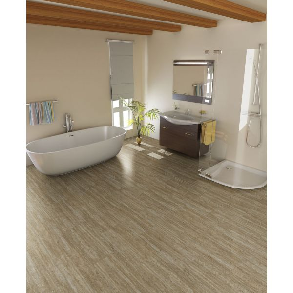 chic Konecto Flooring matched with beige wall plus bathup and shower space for bathroom decor ideas