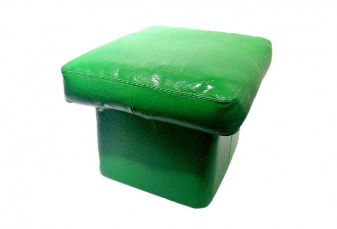 Chic Leather Pouf Ottoman In Green For Home Furniture Ideas