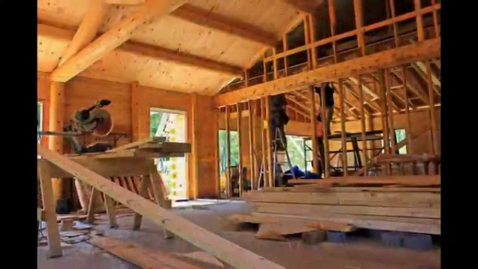 Chic Living Room Of Southland Log Homes In Progress