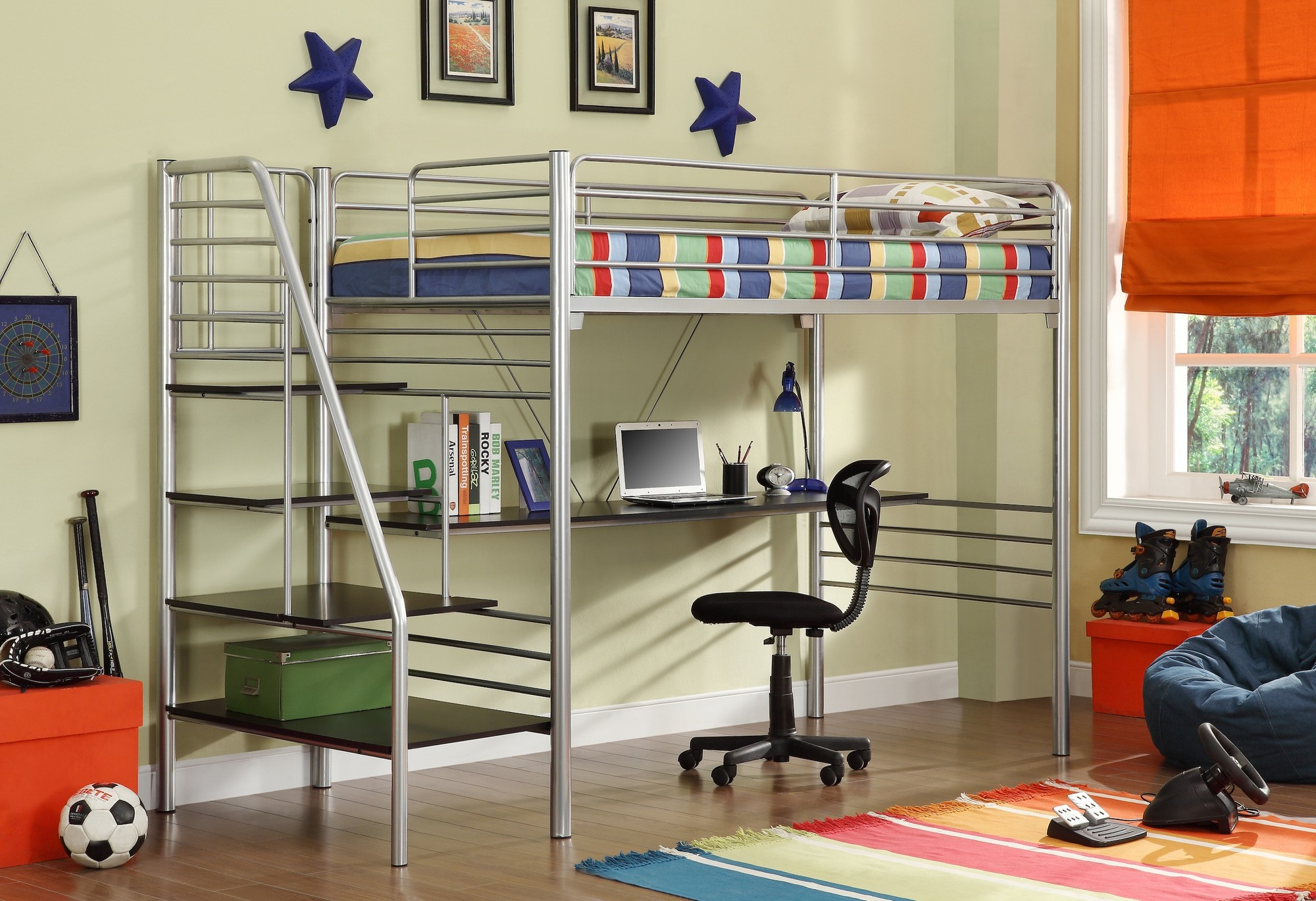 chic metal Bunk Beds With Stairs in silver with desk and single black chair on wooden floor matched with olive wall plus stripped rug for boy bedroom decor ideas