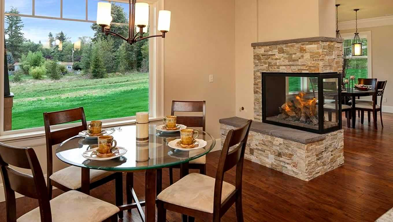 chic napoleon fireplace with stone veneer mantel kit matched with beige wall and wooden floor plus dining table set for dining room decor ideas