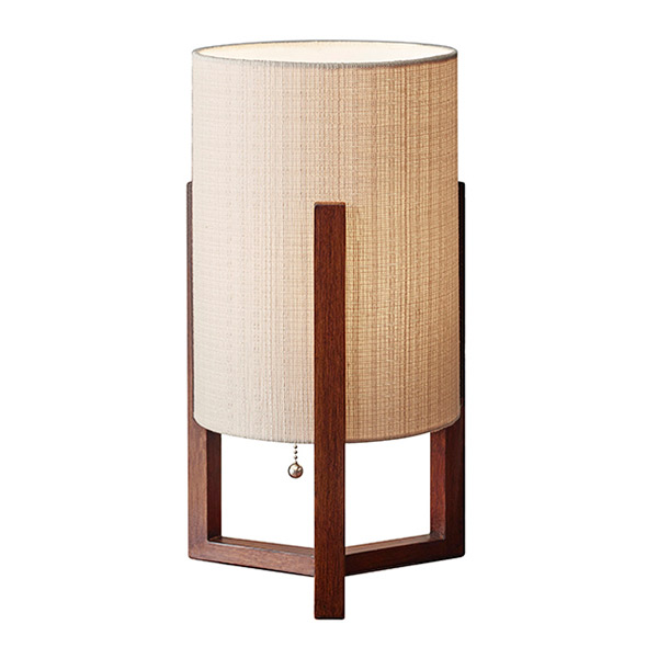 chic Quincy Table Lantern by eurway furniture with walnut stained wood body and natural fiber linen shade for home furniture ideas