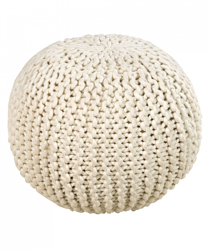 Chic Round Knitted Wool Pouf Ottoman In White For Home Furniture Ideas