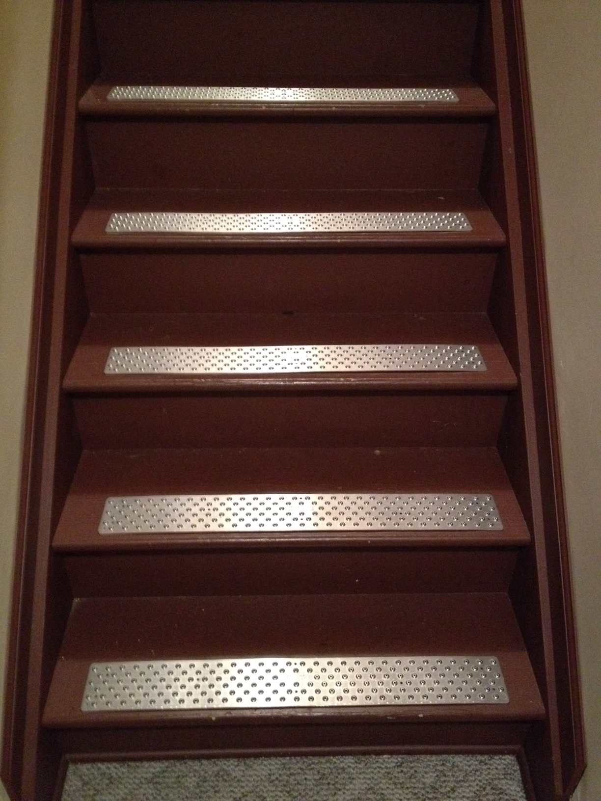 chic silver metal non slip stair treads on brown wooden stepping stair for home ideas