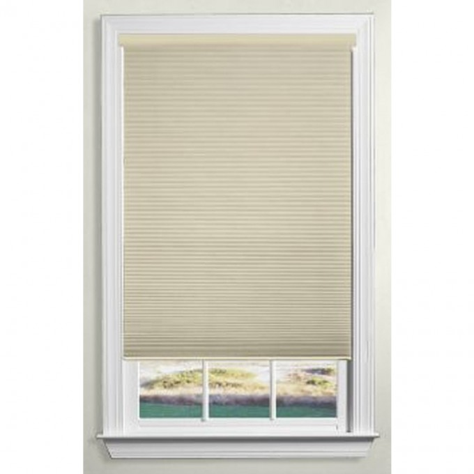 Chic Single Hung Window With Trim Board And Levolor Cellular Shades For Home Design Ideas