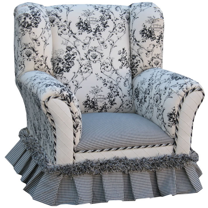 Chic Single Sofa With Beige Floral Wingback Chair Slipcover With Lace For Charming Home Furniture Ideas