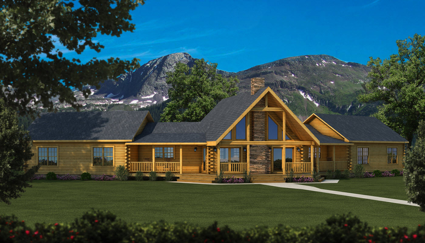 chic Southland Log Homes with dark roof and glass window plus natural stone chimney for home design ideas