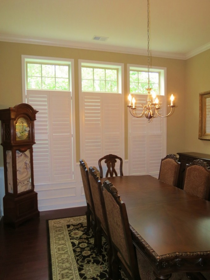 Chic Sunburst Shutters On Yellow Wall Matched With Wooden Floor Plus Chandelier And Dining Table Set For Dining Room Decor Ideas