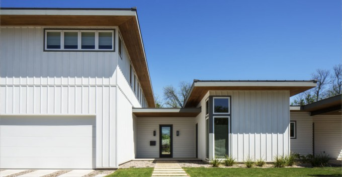 Chic Vertical Hardie Plank Siding In White With Glass Window And White Wooden Garage Door For Home Exterior Design