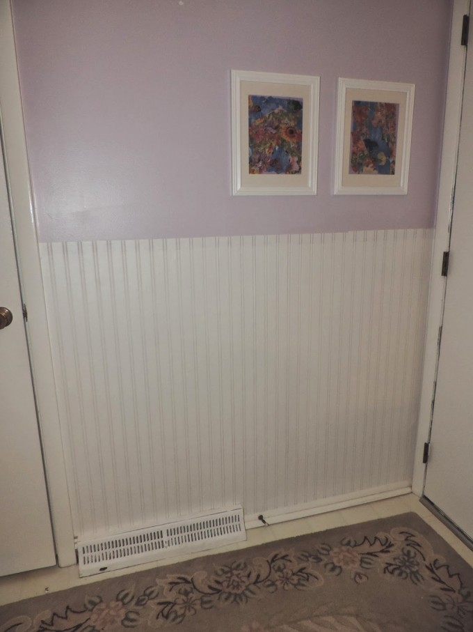 Chic Wall Doctor Beadboard Wallpaper Matched With Purple Wall And White Door For Home Interior Design Ideas