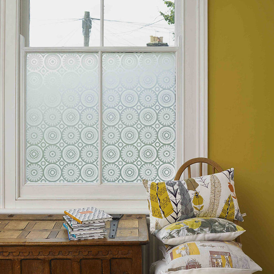 chic white framed window with artscape window film matched on yellow wall for home interior design ideas