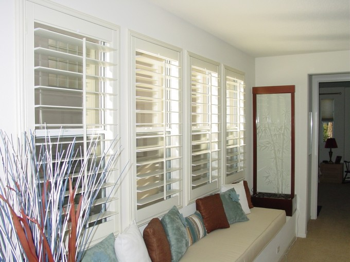 Chic White Sunburst Shutters Matched On White Wall Plus Bench With Cushion For Home Interior Design Ideas