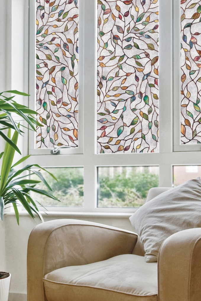 Chic Window With Leaf Artscape Window Film Matched On White Wall For Home Interior Design Ideas