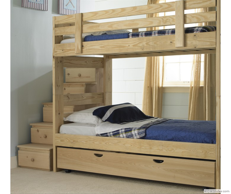 Chic Wood Bunk Beds With Stairs And Drawers Before The White Wall With Window And Curtain For Teen Bedroom Decor Ideas