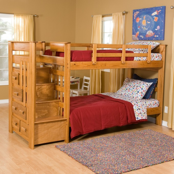 Chic Wood Bunk Beds With Stairs And Drawers On Wooden Floor Matched With Cream Wall With Glass Window And Curtain For Teen Bedroom Decor Ideas