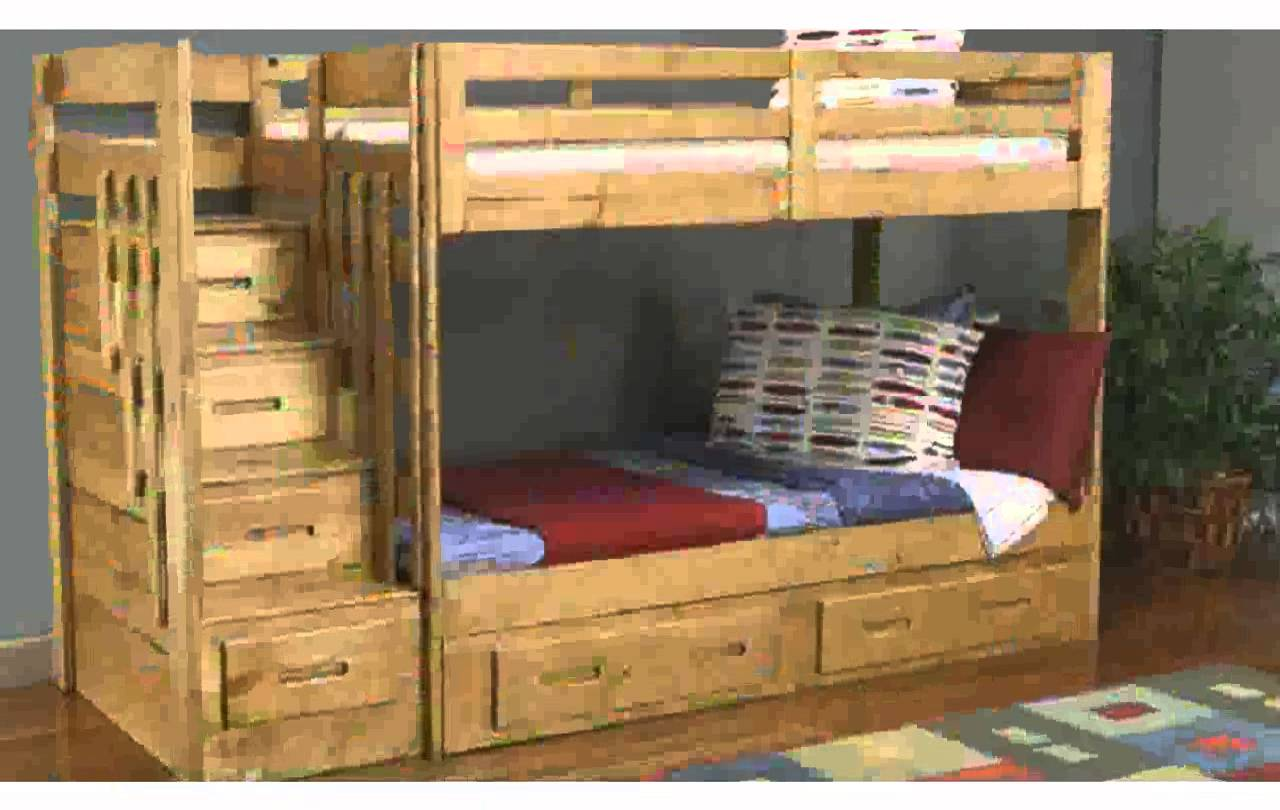 chic wood Bunk Beds With Stairs and storage before the gray wall matched with wooden floor with rug for teen bedroom decor ideas