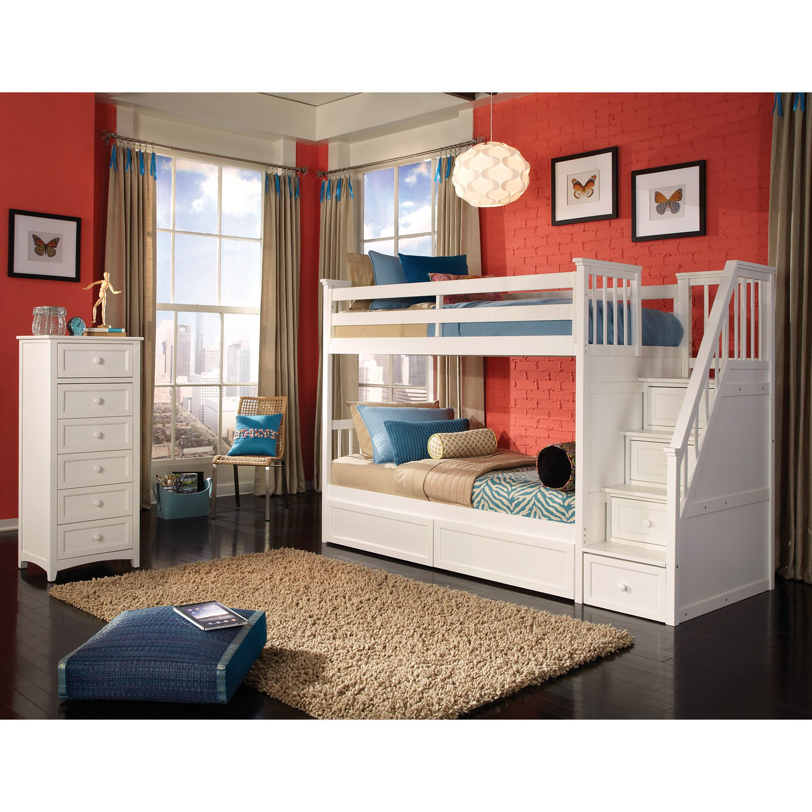 chic wood Bunk Beds With Stairs in white on wooden floor matched with orange wall with picture plus pretty pendant for teen bedroom decor ideas