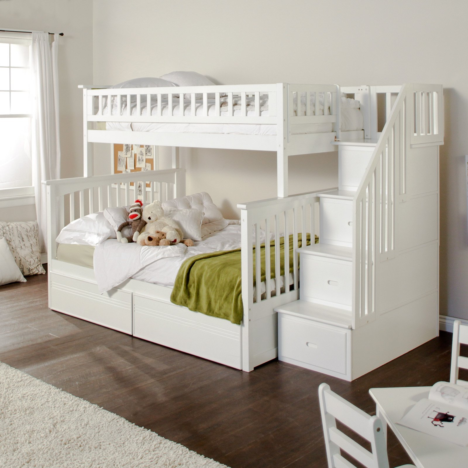 chic wood Bunk Beds With Stairs in white on wooden floor matched with white wall plus white rug for teen bedroom decor ideas